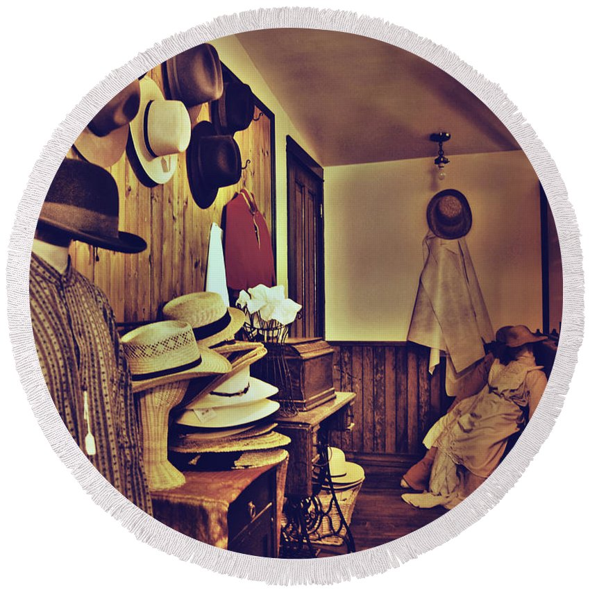 Photographs Framed Prints Round Beach Towel featuring the photograph Hat Room by The Artist Project