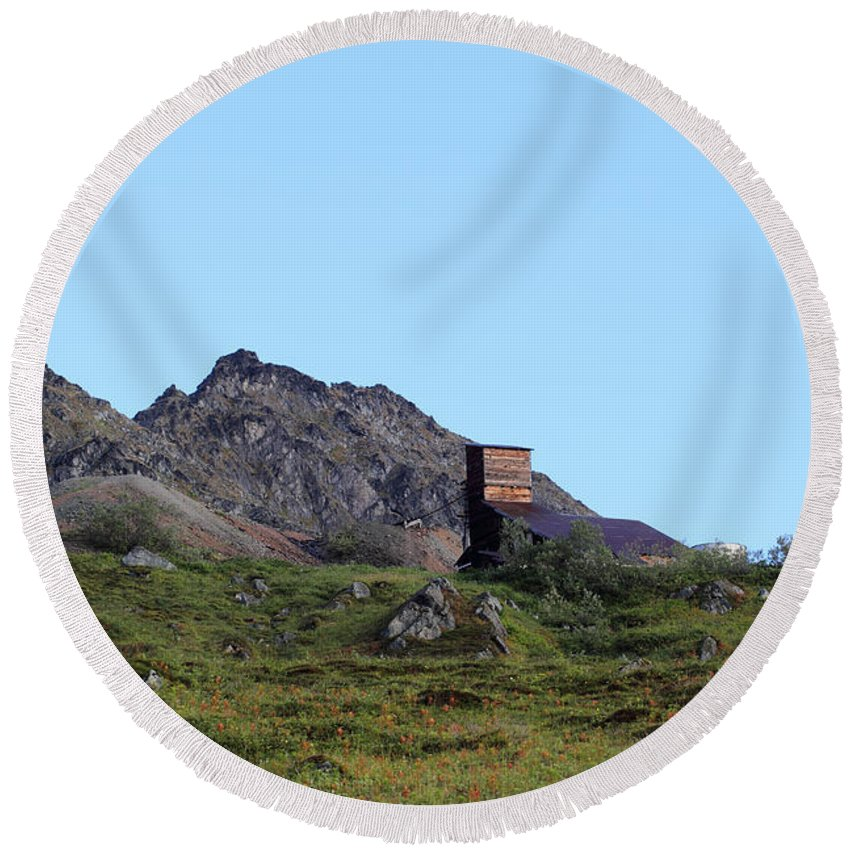 Doug Lloyd Round Beach Towel featuring the photograph Hatcher Pass Mine by Doug Lloyd