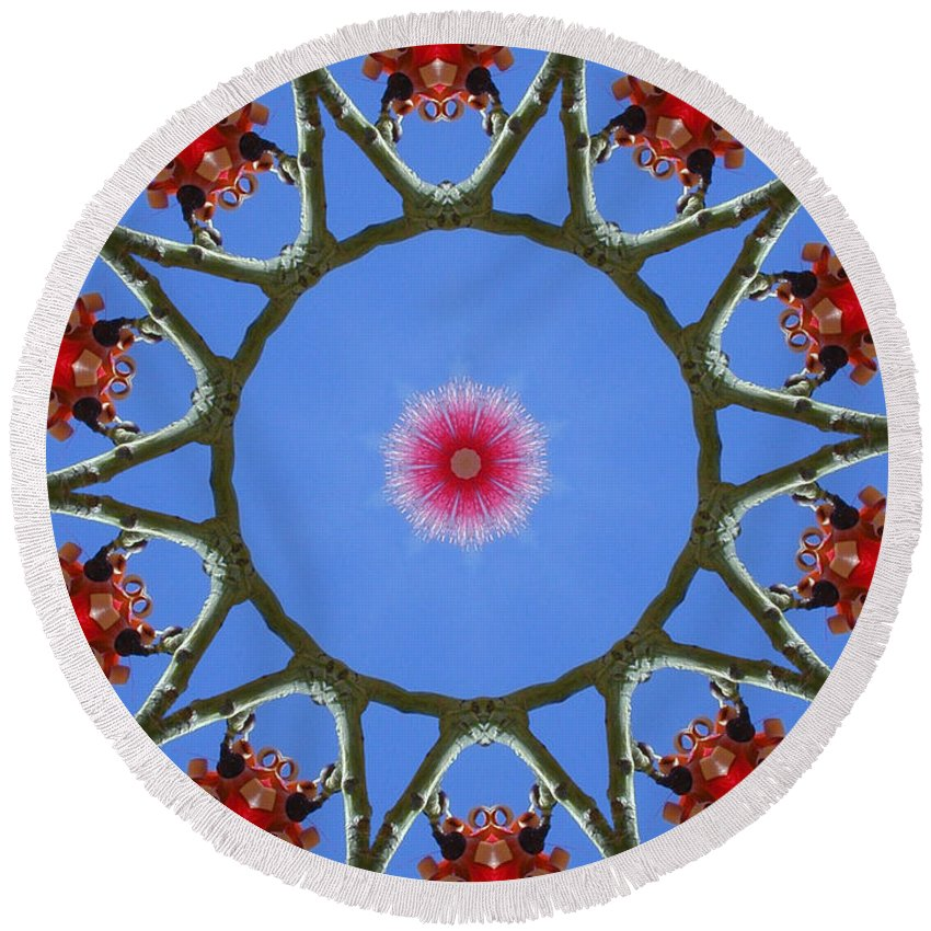 Kaleidoscope Round Beach Towel featuring the photograph Hawaiian Flora by Mark Gilman