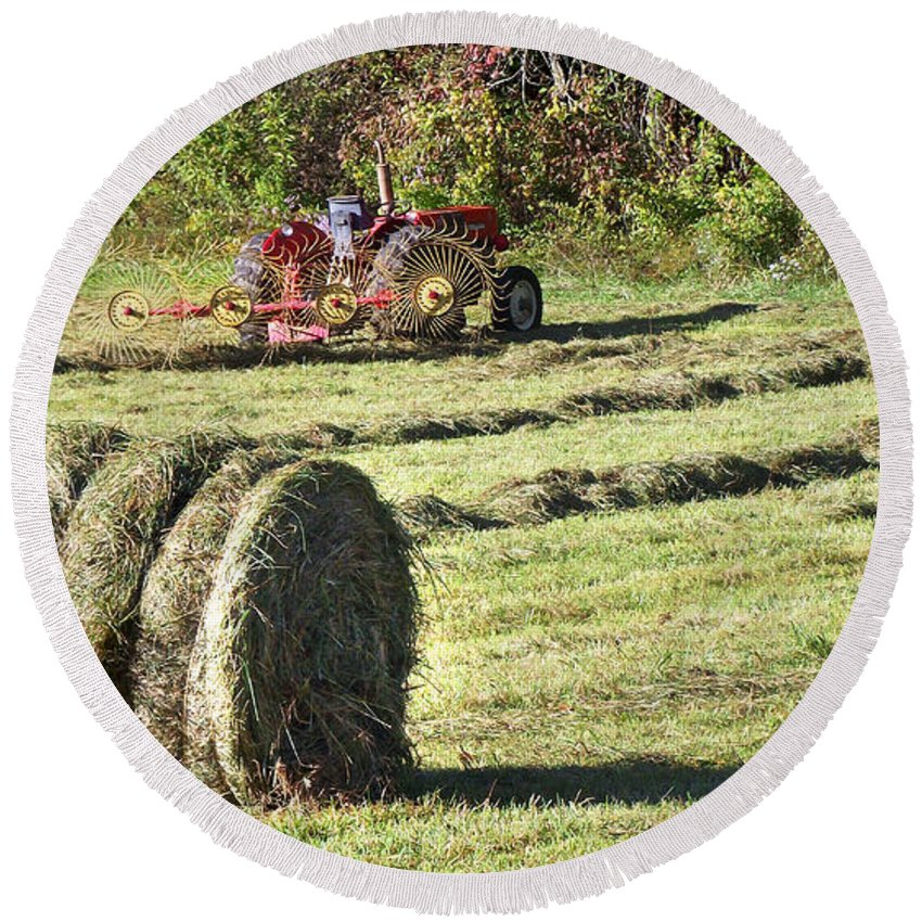 Hay Round Beach Towel featuring the photograph Hay Bale And Tractor by Duane McCullough