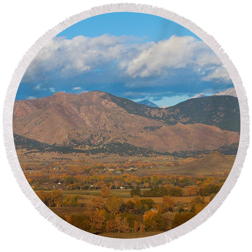 Colorful Round Beach Towel featuring the photograph Haystack Autumn View by James BO Insogna