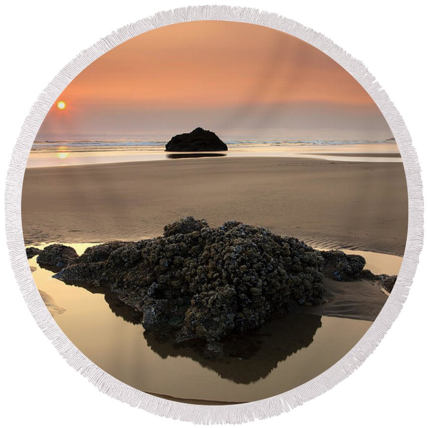 Arcadia Beach Round Beach Towel featuring the photograph Hazy Oregon Sunset by Mike Dawson