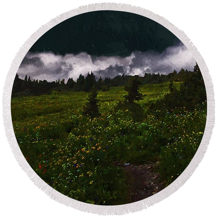Meadow Round Beach Towel featuring the painting Heading Home Through The Meadow by RC DeWinter