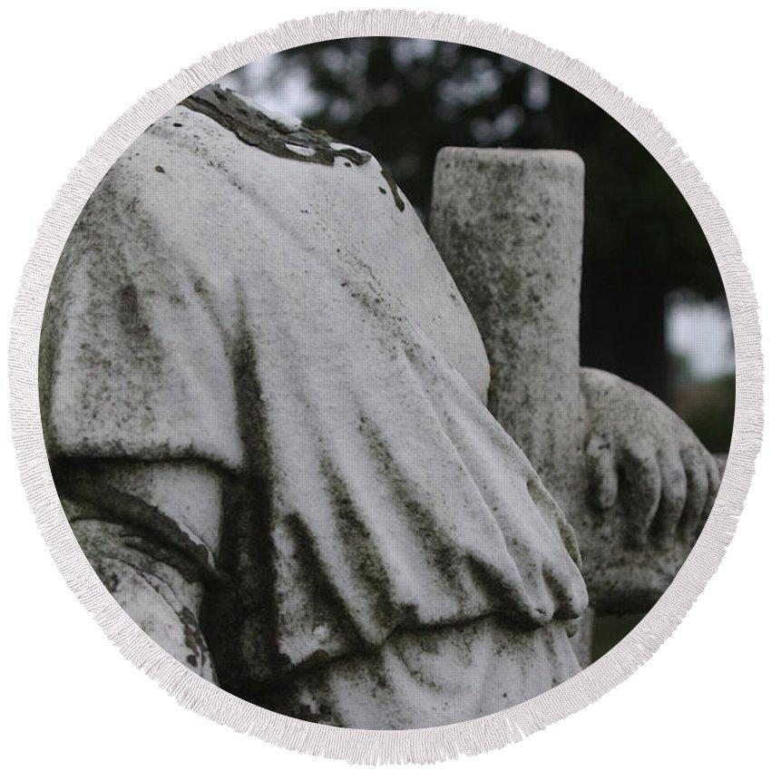 Headless Round Beach Towel featuring the photograph Headless Shepherd by J M Lister