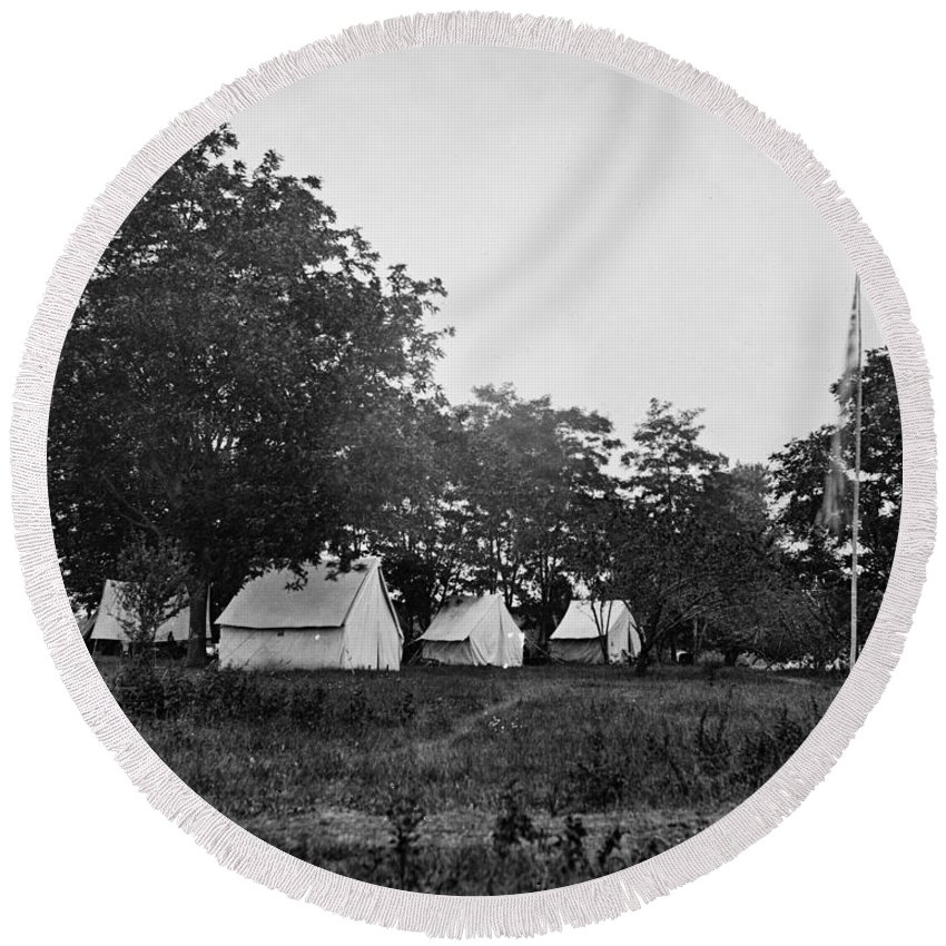 civil War Round Beach Towel featuring the photograph Headquarters - Army Of The Potomac - Fairfax Courthouse Virginia 1863 by International Images