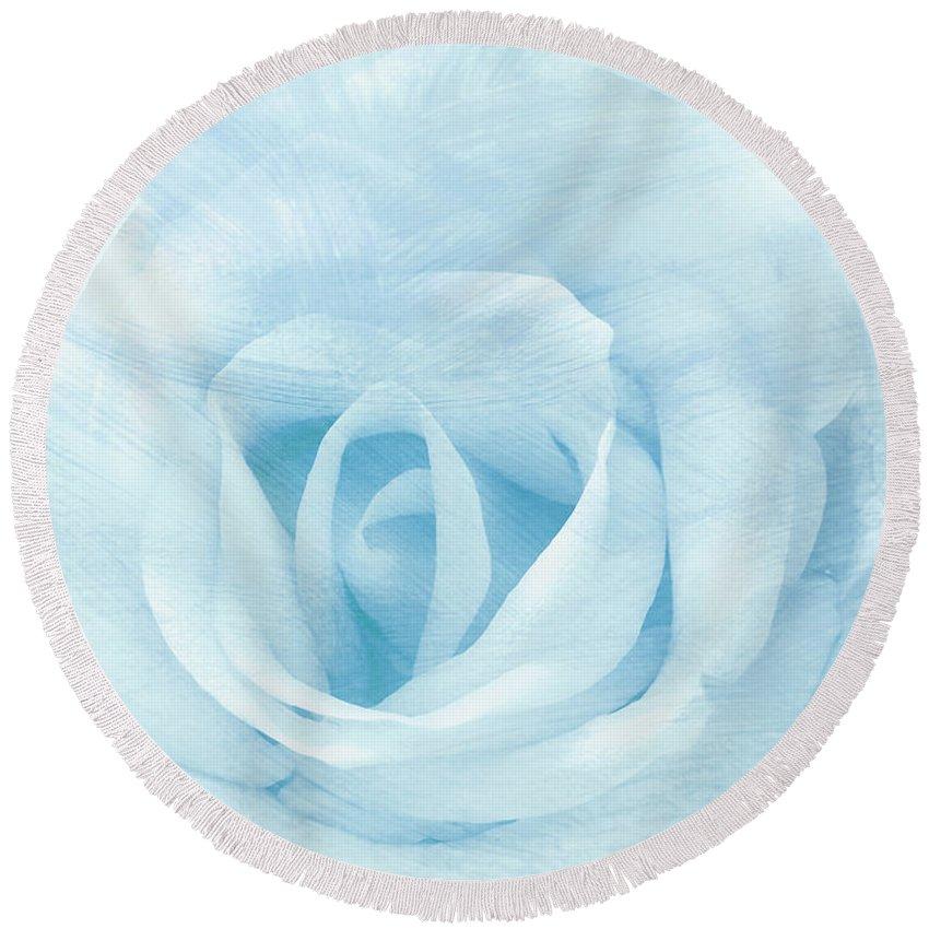 Rose Round Beach Towel featuring the mixed media Heart To Heart by Georgiana Romanovna