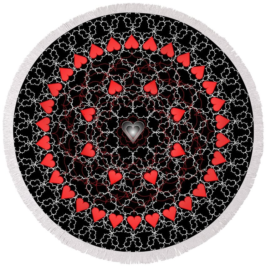 Digital Round Beach Towel featuring the digital art Hearts And Lace 2012 by Kathryn Strick