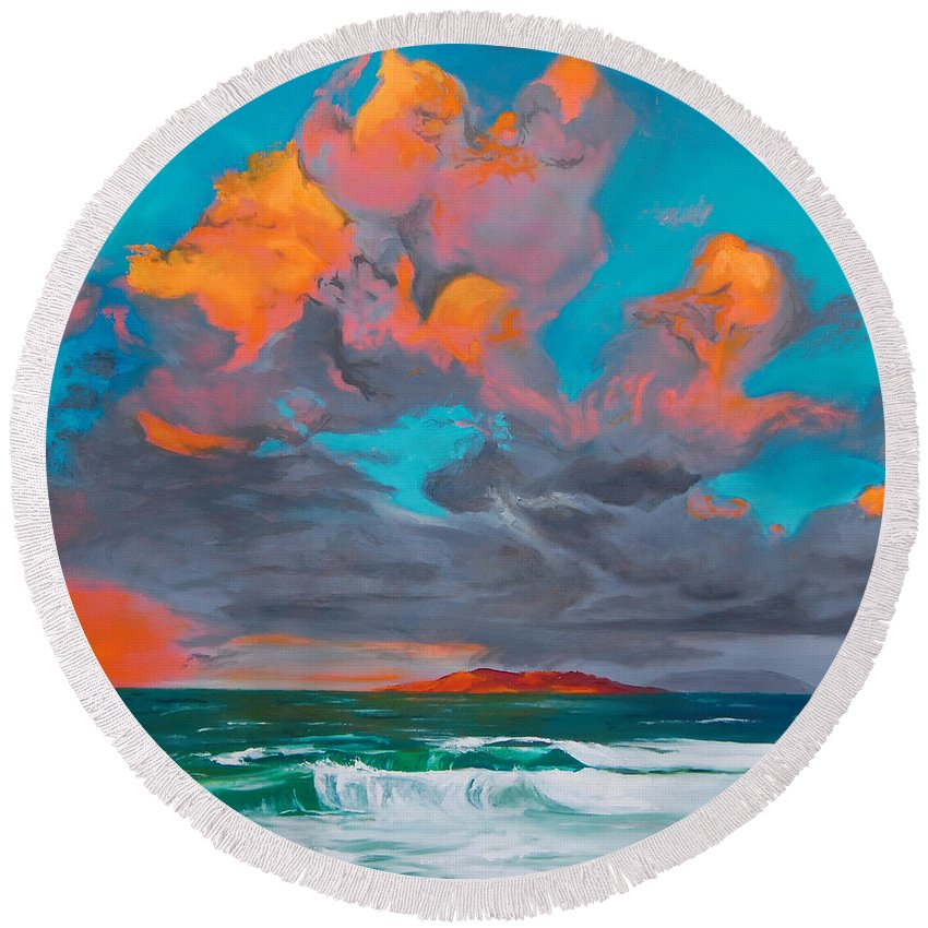 Seascape Round Beach Towel featuring the painting Hebridean Glory by Jennifer Hickman