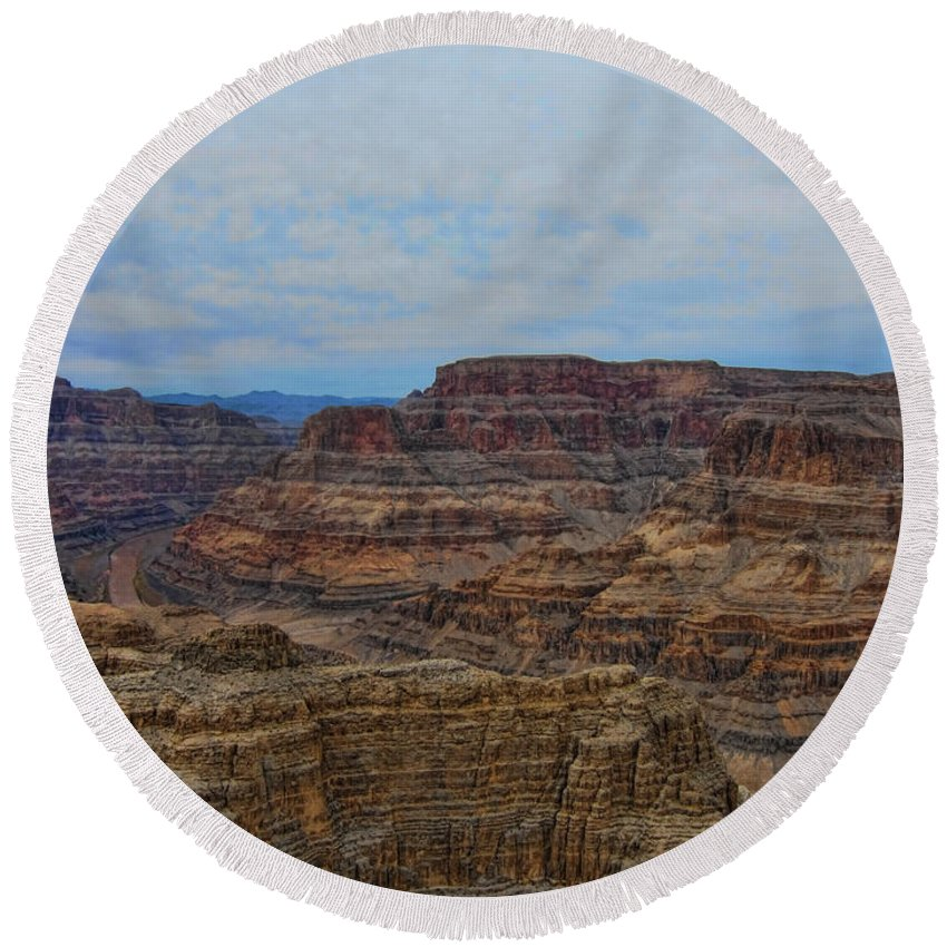 Descending Round Beach Towel featuring the photograph Helicopter View Of The Grand Canyon by Douglas Barnard