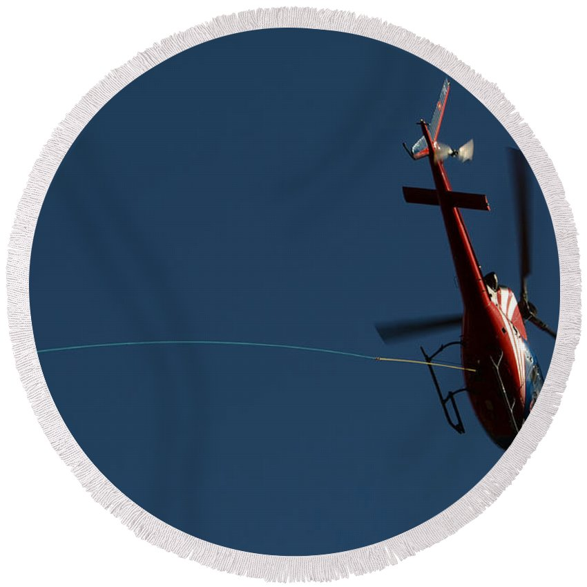 Helicopter Round Beach Towel featuring the photograph Helicopter With A Hook by Mats Silvan