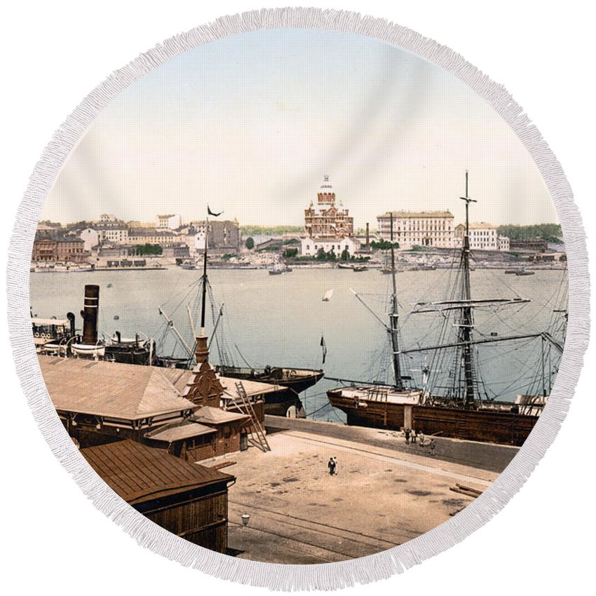 Helsinki Round Beach Towel featuring the photograph Helsinki Finland - Russian Cathedral And Harbor by International Images