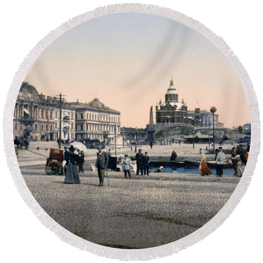 Helsinki Round Beach Towel featuring the photograph Helsinki Finland - Senate Square by Bode Stevenson