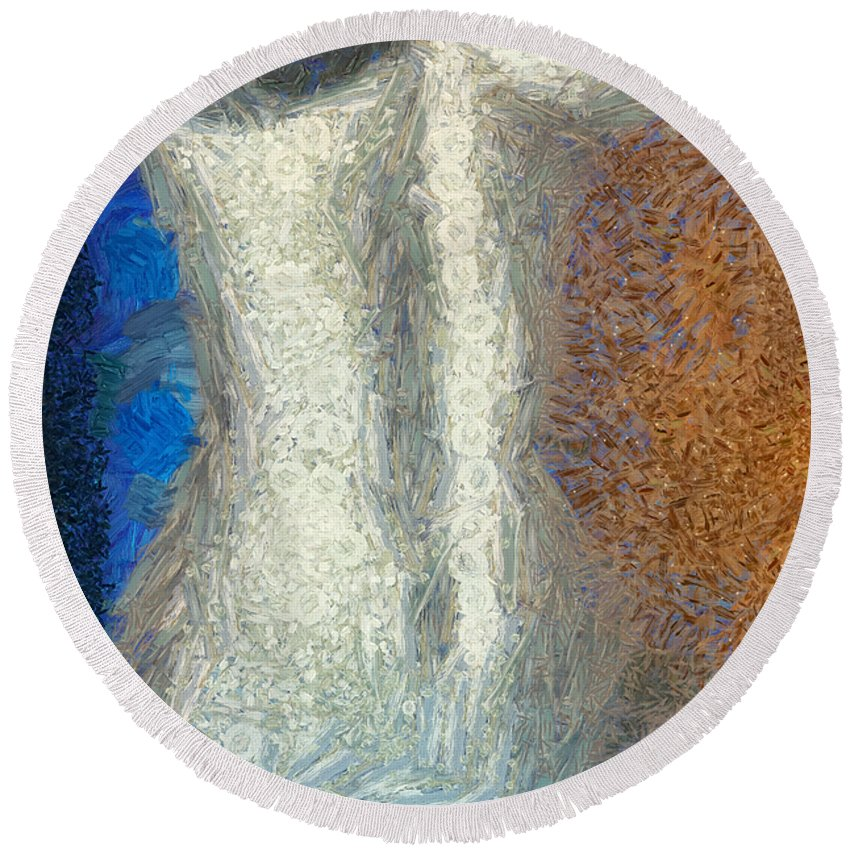 Female Round Beach Towel featuring the mixed media Her Figure 1 by Angelina Vick