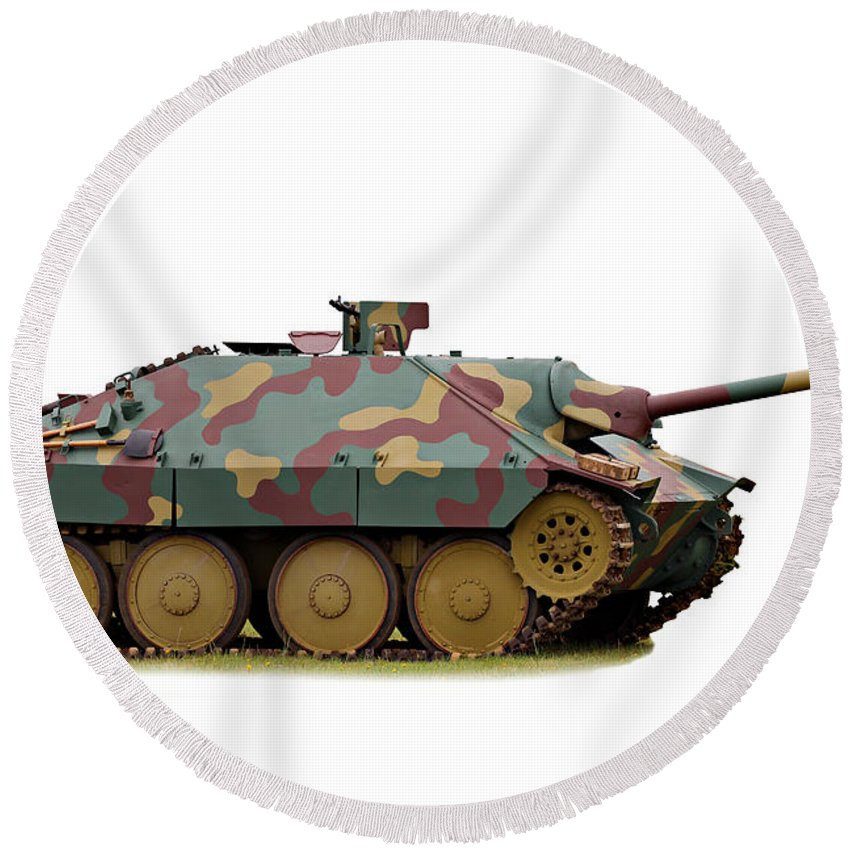 Action Round Beach Towel featuring the photograph Hetzer Tank Destroyer by Paul Fell