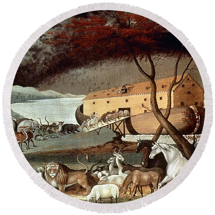 19th Century Round Beach Towel featuring the photograph Hicks: Noahs Ark, 1846 by Granger