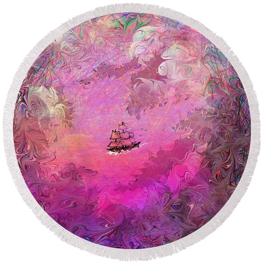 Treasure Round Beach Towel featuring the digital art Hidden Treasure by Rachel Christine Nowicki