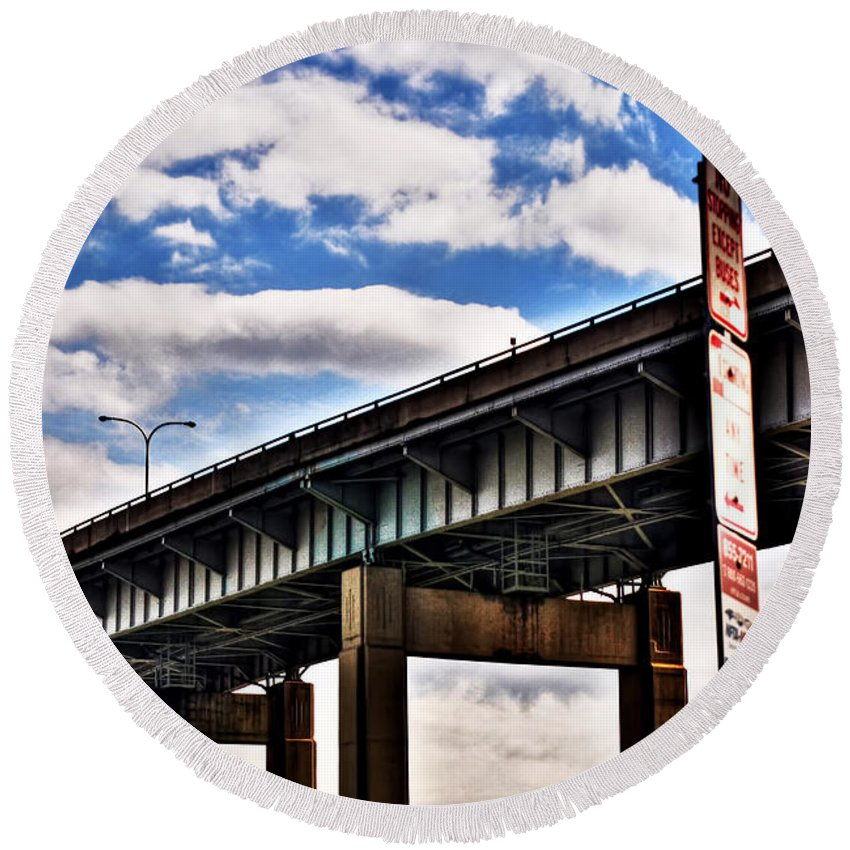 Round Beach Towel featuring the photograph High In The Skyway by Michael Frank Jr