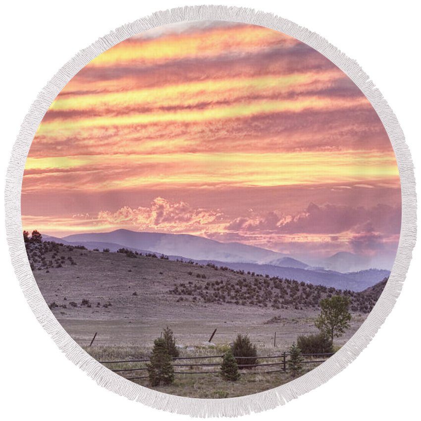 'high Park Fire' Round Beach Towel featuring the photograph High Park Fire Larimer County Colorado At Sunset by James BO Insogna