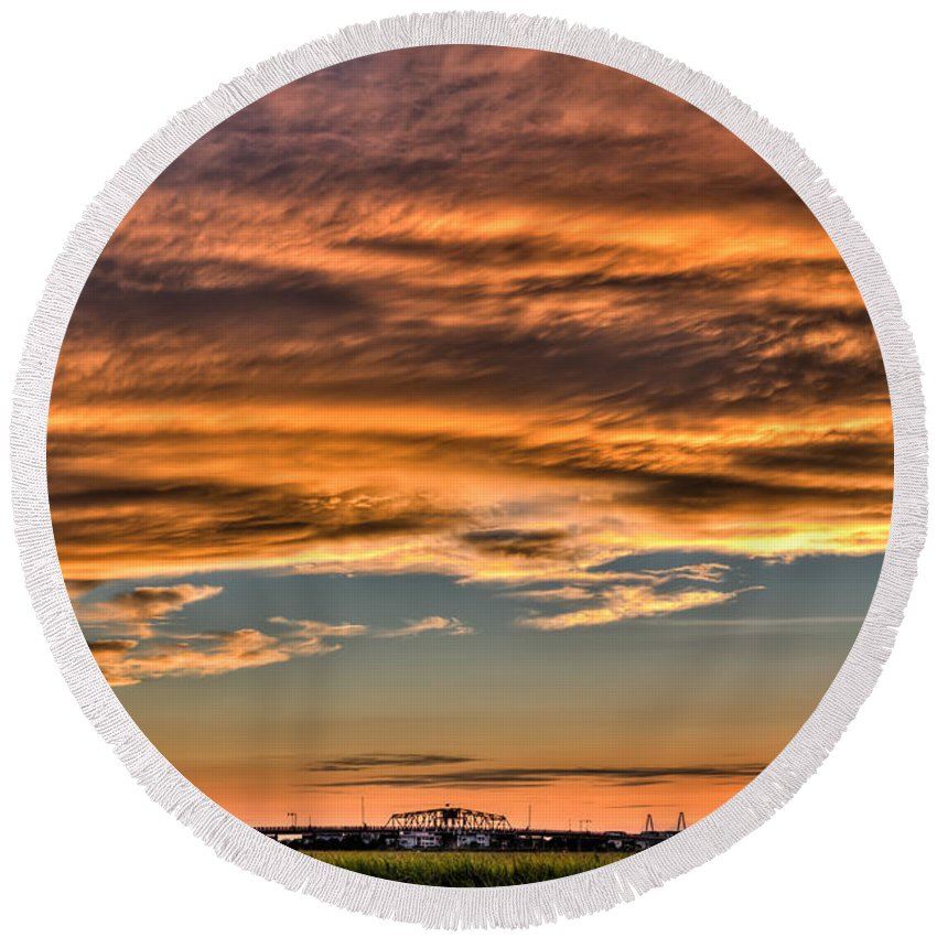 Charleston Round Beach Towel featuring the photograph High Pressure Dominating by Andrew Crispi