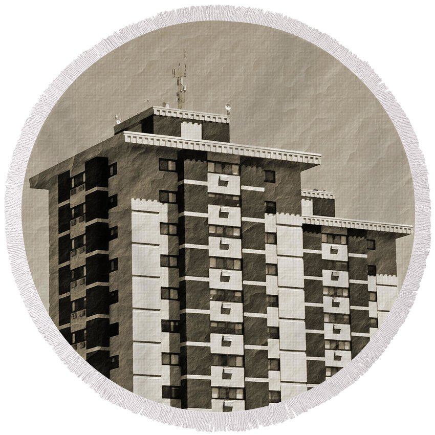 Arcitecture Round Beach Towel featuring the photograph High Rise Apartments by Debbie Portwood