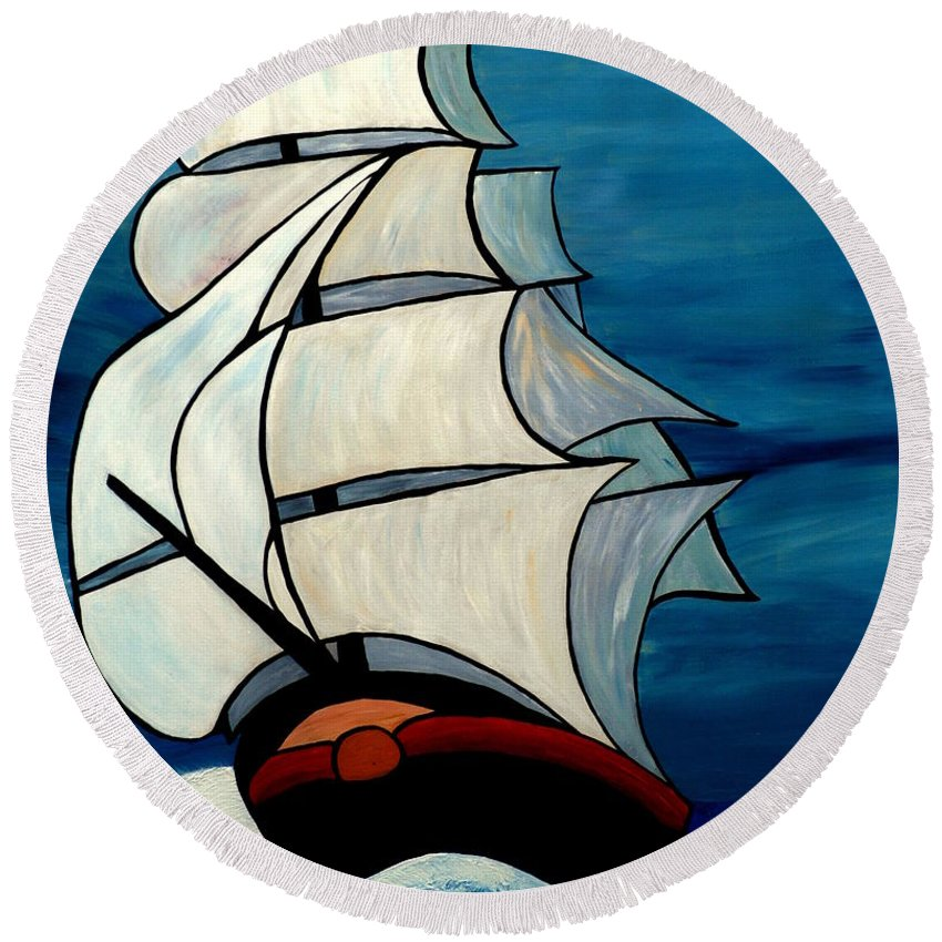 Ocean Round Beach Towel featuring the painting High Sea by Cynthia Amaral