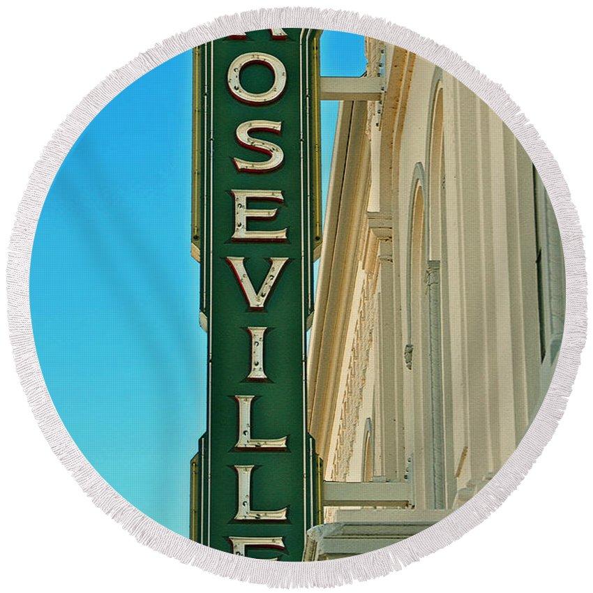 Historic Roseville California Round Beach Towel featuring the photograph Historic Roseville California by Bill Owen