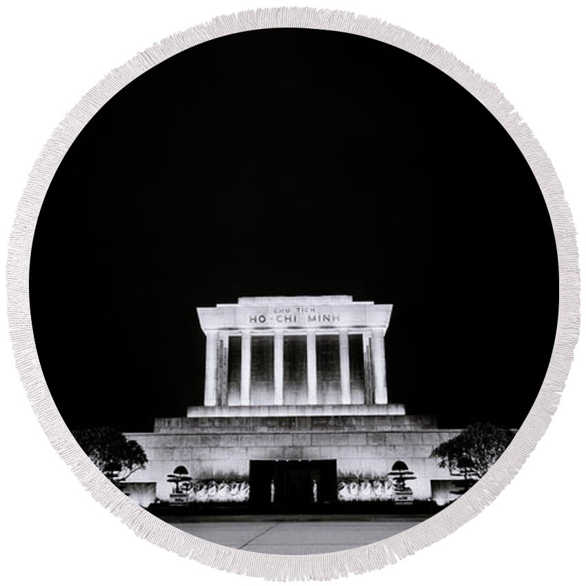 Hanoi Round Beach Towel featuring the photograph Ho Chi Minh Memorial At Night by Shaun Higson