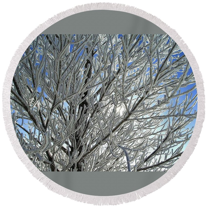 Frost Round Beach Towel featuring the photograph Hoar Frost by Ellen Heaverlo