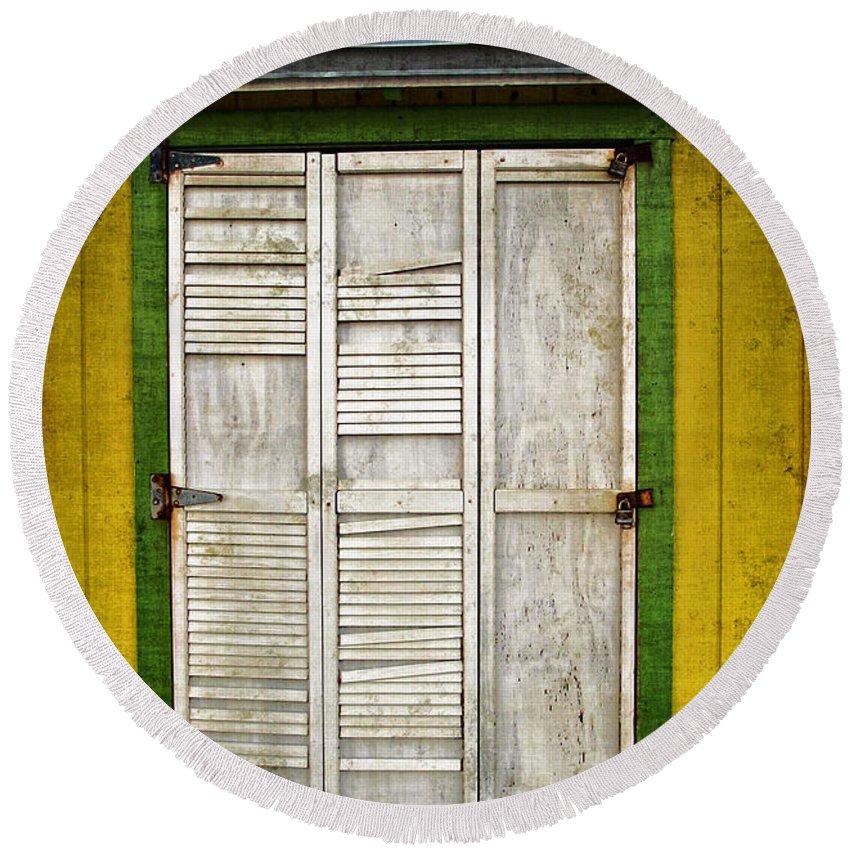 \holliwood Beach Door\ Round Beach Towel featuring the photograph Holliwood Beach Door by Joan Minchak