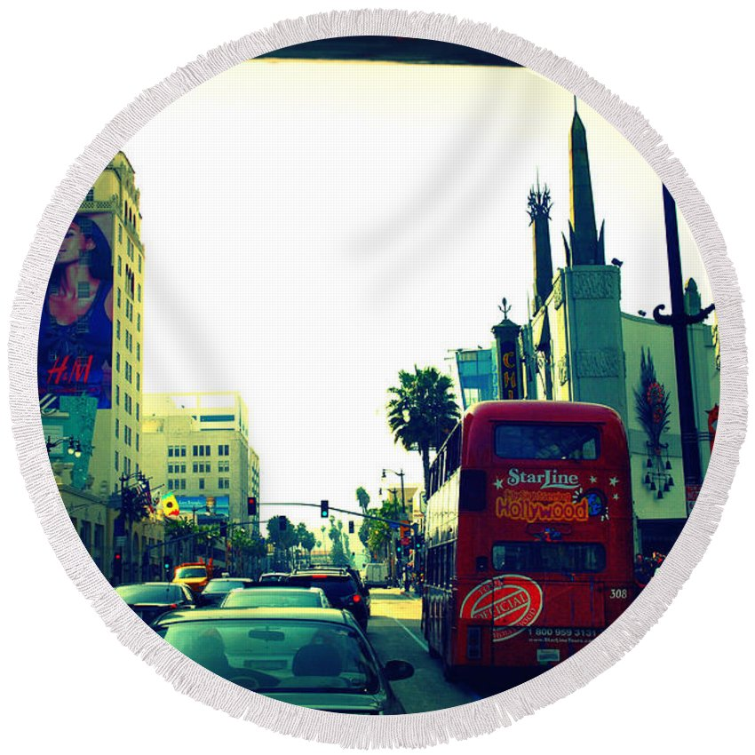 Hollywood Boulevard Round Beach Towel featuring the photograph Hollywood Boulevard In La by Susanne Van Hulst