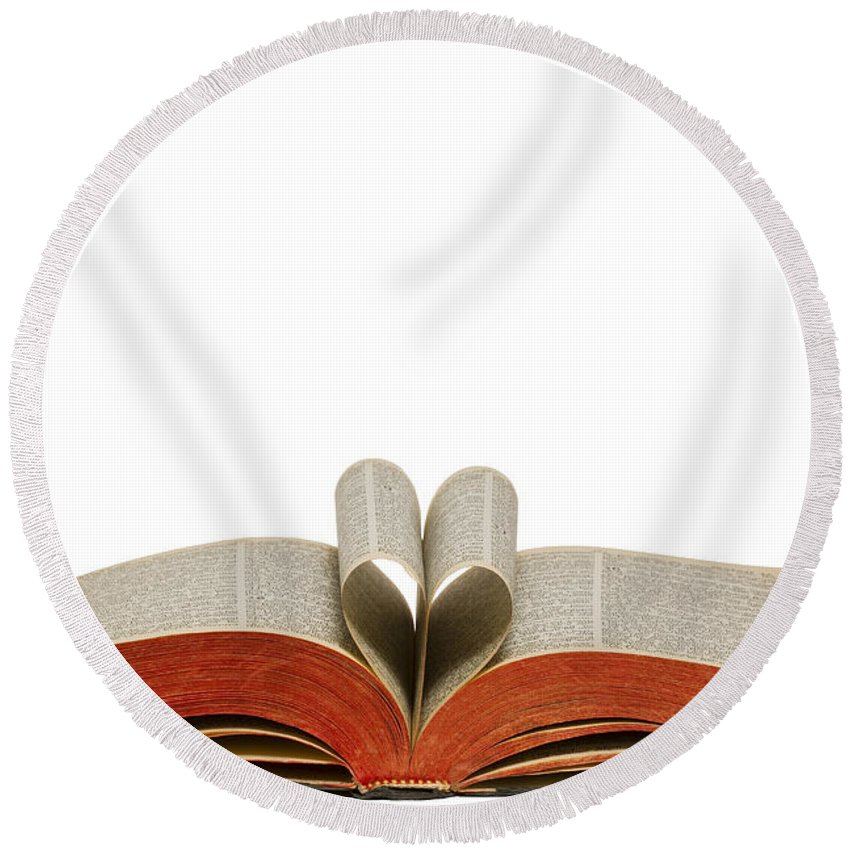 Heart Round Beach Towel featuring the photograph Holy Bible Heart 1 A by John Brueske