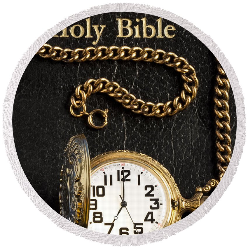 Photography Round Beach Towel featuring the photograph Holy Bible Pocket Watch 1 by John Brueske