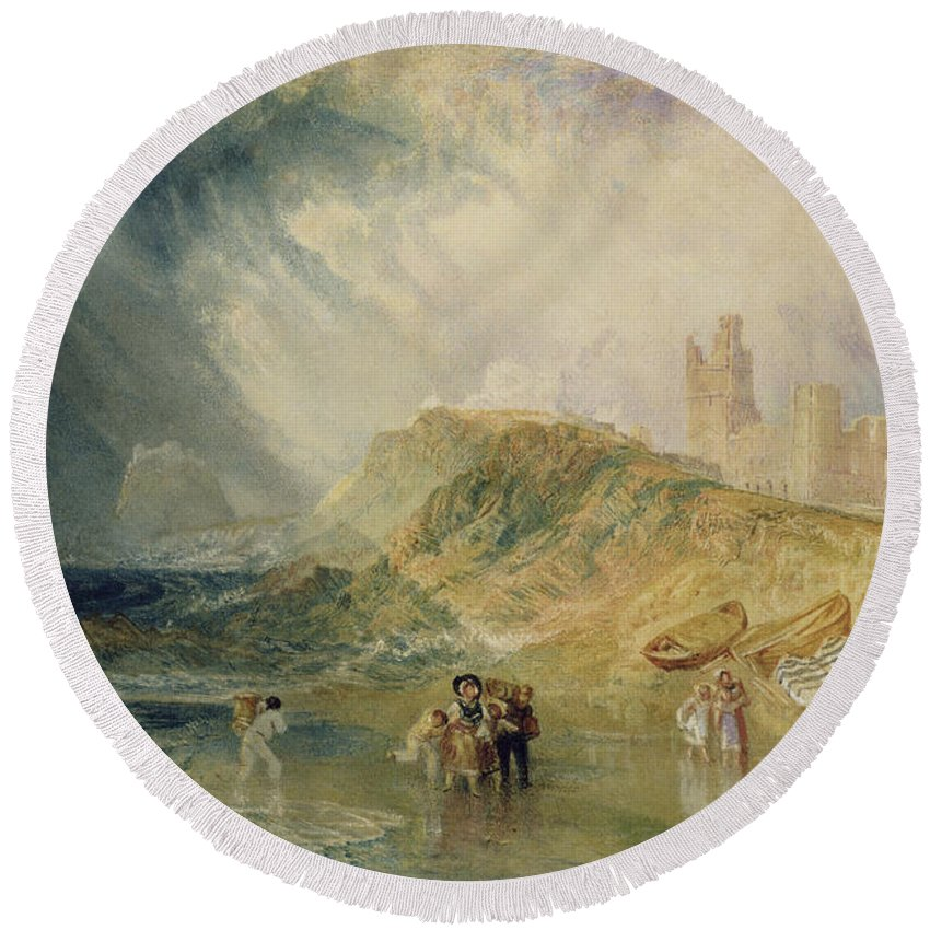 Sea; Coast; Coastal; Crossing; Inlet; Fishing; Boats; Beach; Landing; Boat; Disembarking; Shore Round Beach Towel featuring the painting Holy Island - Northumberland by Joseph Mallord William Turner