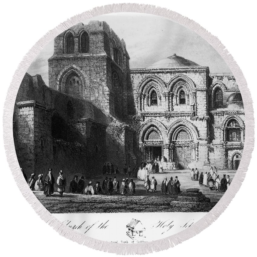 1843 Round Beach Towel featuring the photograph Holy Sepulcher by Granger