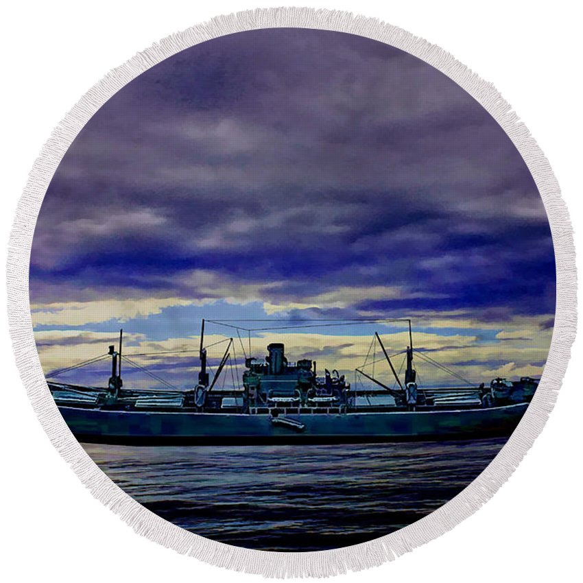 Ss Patrick Henry Round Beach Towel featuring the digital art Homeward Bound by Tommy Anderson