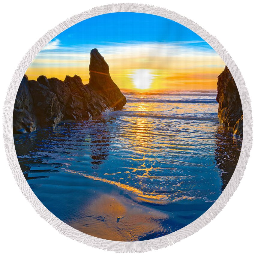 Honda Cove Round Beach Towel featuring the photograph Honda Cove Sunset by Greg Nyquist