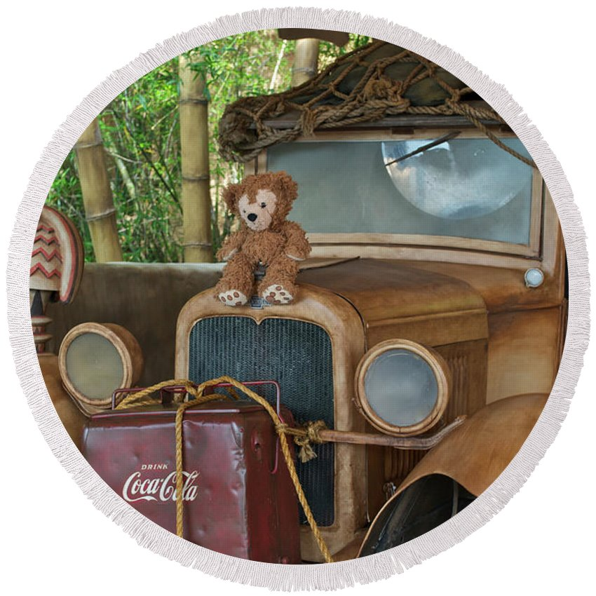 Fantasy Round Beach Towel featuring the photograph Hood Ornament Disney Bear by Thomas Woolworth