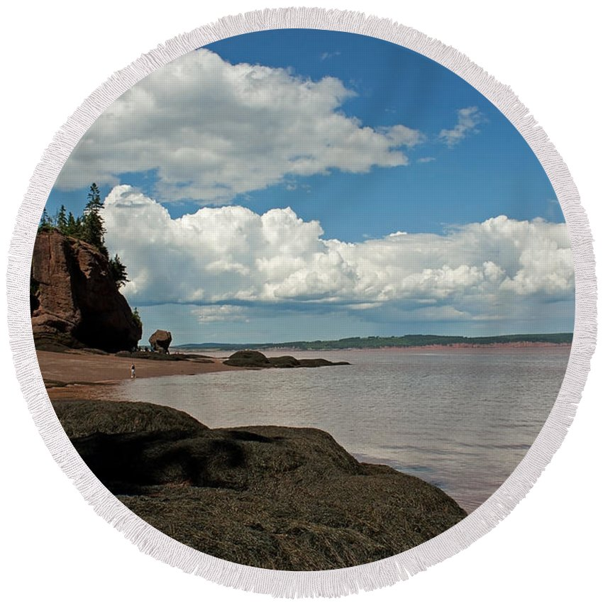 Hopewell Round Beach Towel featuring the photograph Hopewell Rocks by Jeff Galbraith