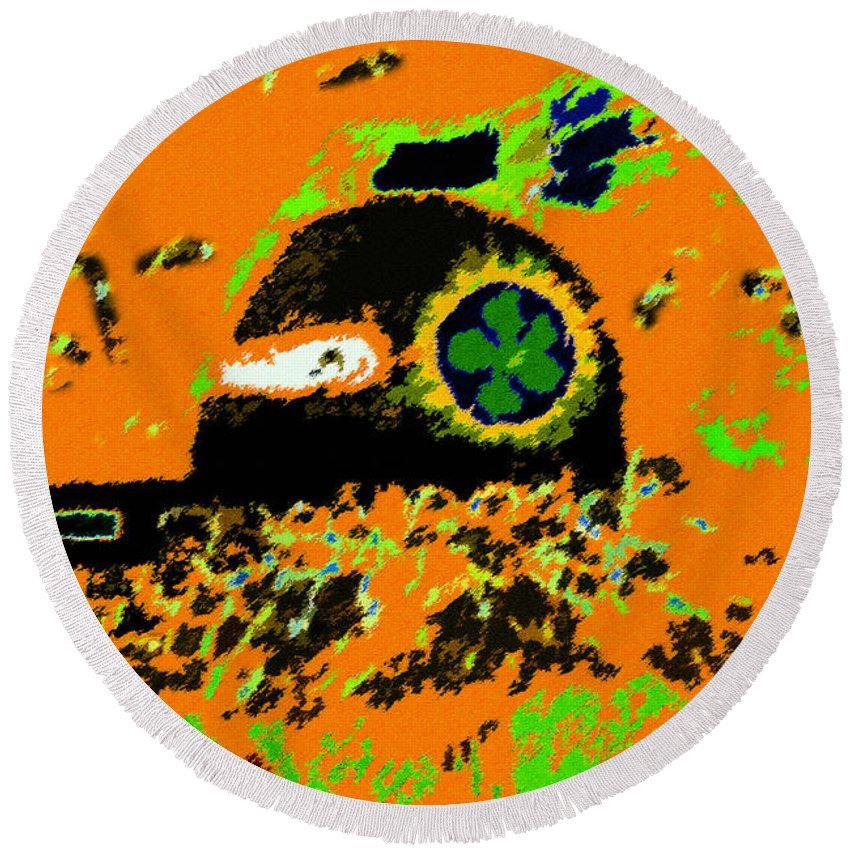 Art Round Beach Towel featuring the painting Hopi Kachina Work Number 4 by David Lee Thompson