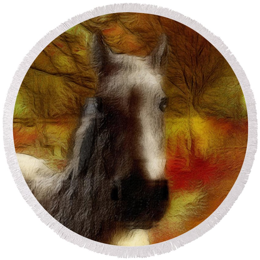 Horse Round Beach Towel featuring the photograph Horse On The Farm by Ericamaxine Price