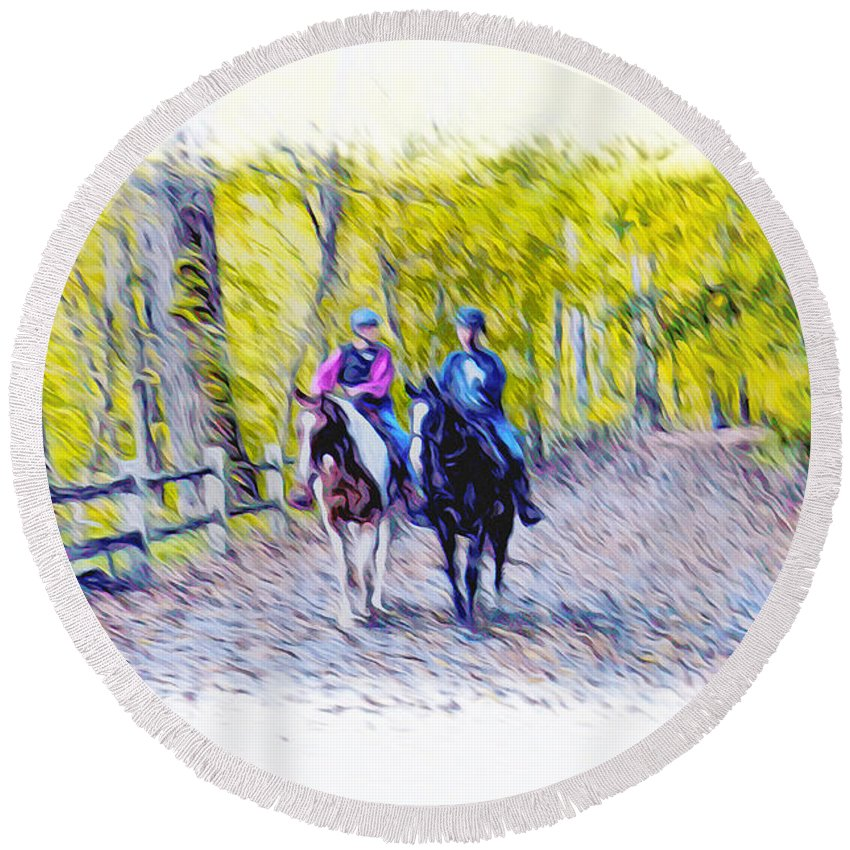 Horseback Riding Round Beach Towel featuring the photograph Horseback Riding by Bill Cannon