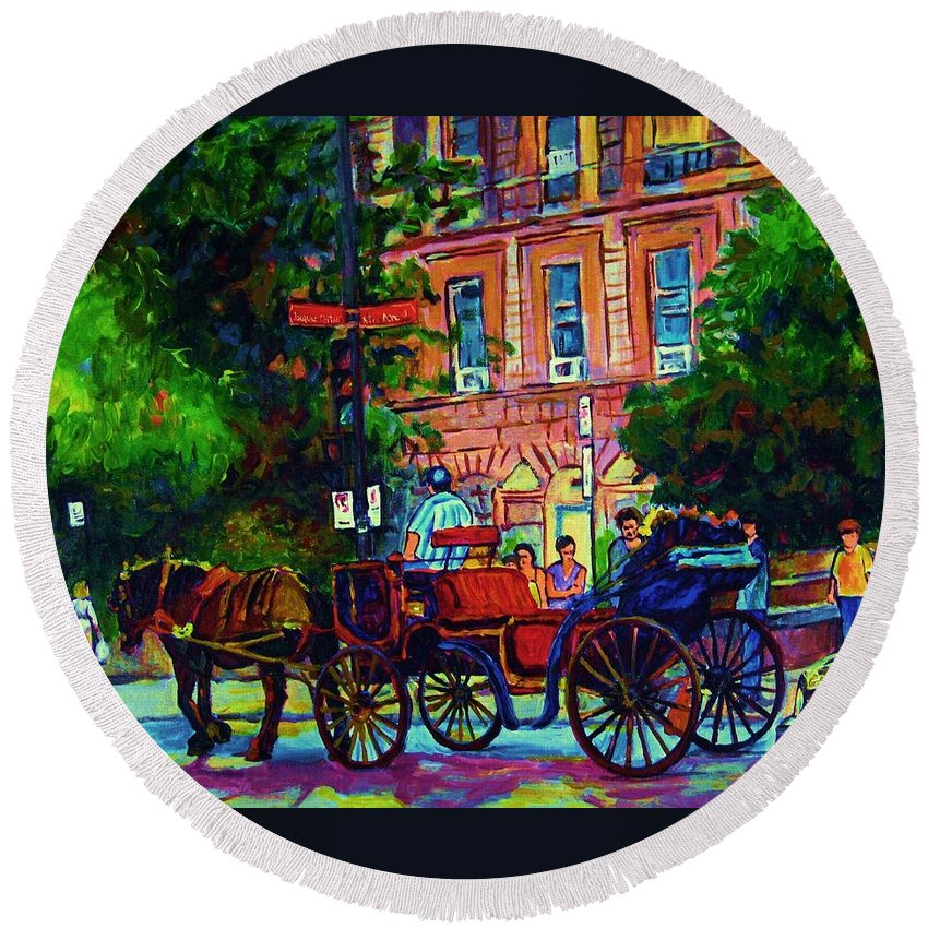 Rue Notre Dame Round Beach Towel featuring the painting Horsedrawn Carriage by Carole Spandau