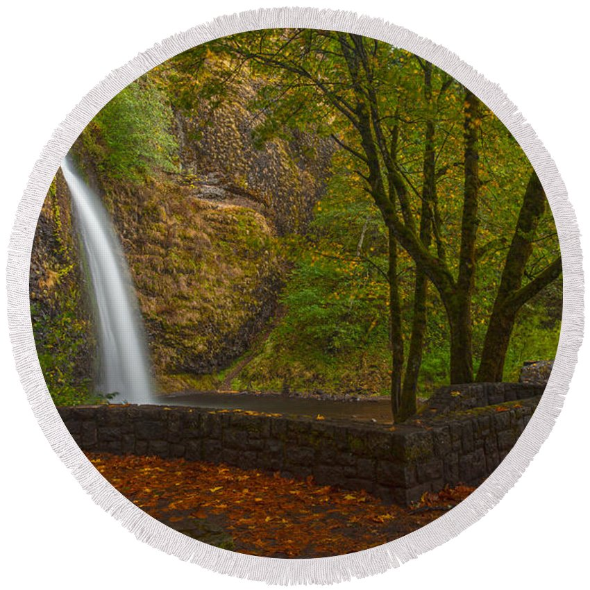 Creek Round Beach Towel featuring the photograph Horsetail Falls by Mike Reid