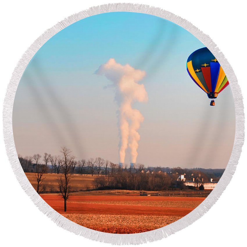 Hot Air Round Beach Towel featuring the photograph Hot Air Balloon Near Limerick Pa by Bill Cannon