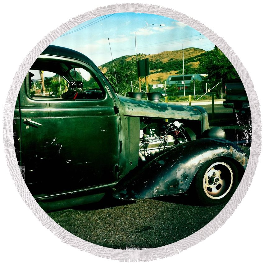 Transportation Round Beach Towel featuring the photograph Hot Rod by Nina Prommer