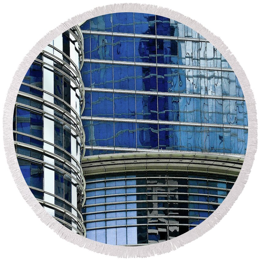 Architecture Round Beach Towel featuring the photograph Houston Architecture 1 by Frances Hattier