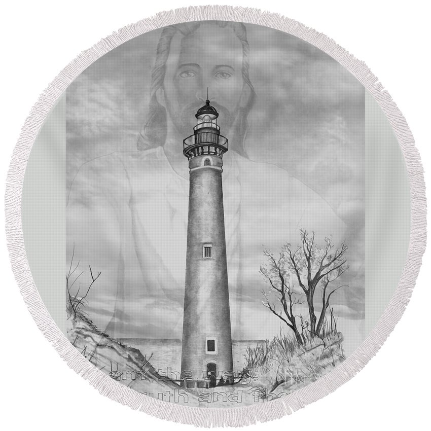I Round Beach Towel featuring the drawing I Am The Way by Bill Richards