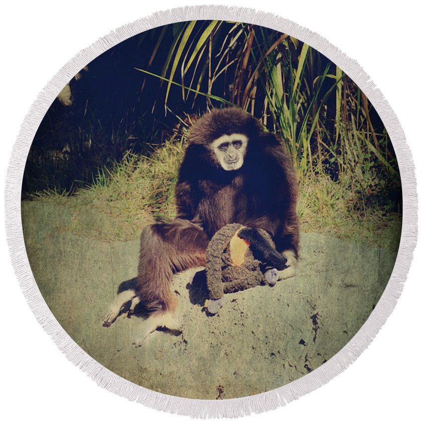 Primates Round Beach Towel featuring the photograph I Need a Hug by Laurie Search