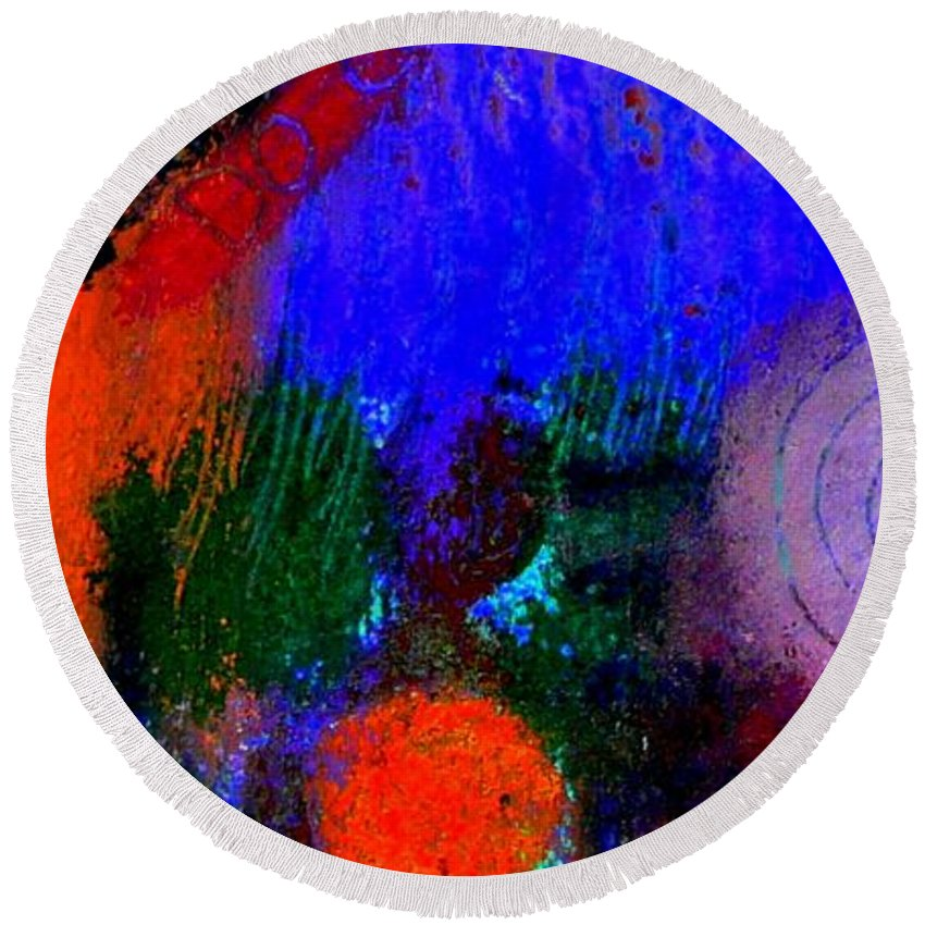 Women Round Beach Towel featuring the painting I Still Dream by Angela L Walker