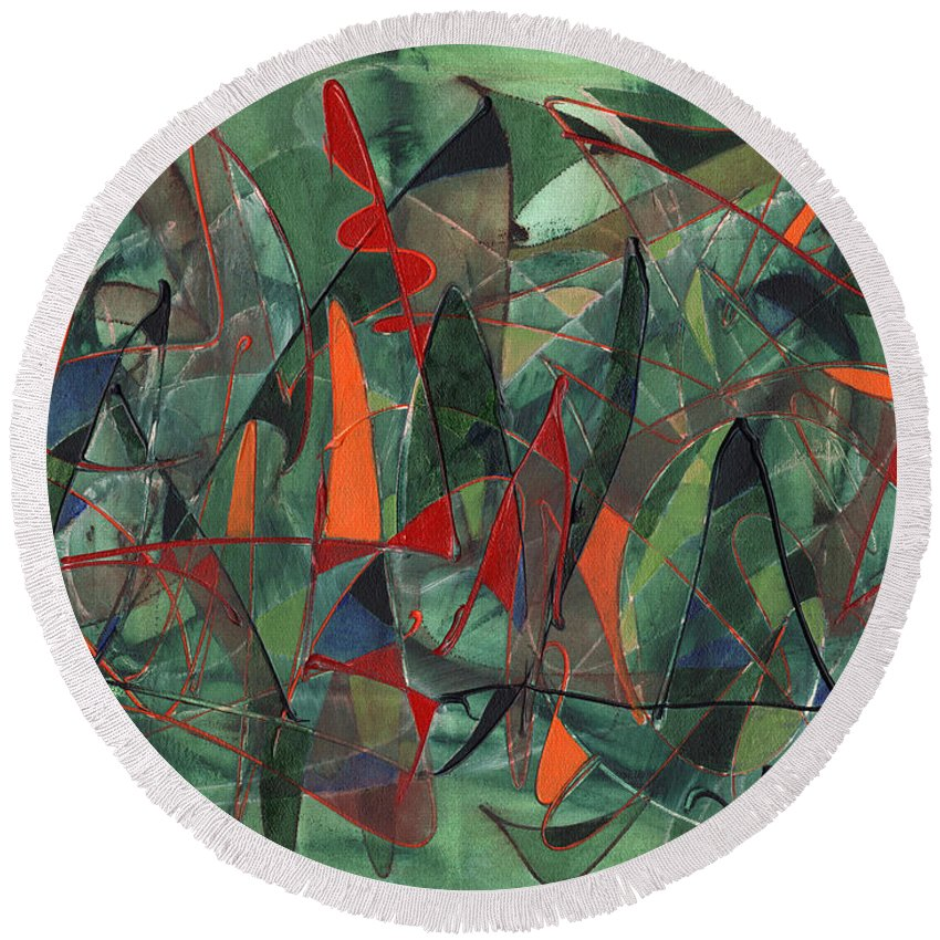 Abstract Round Beach Towel featuring the painting In The Hedgerow by Lynne Taetzsch